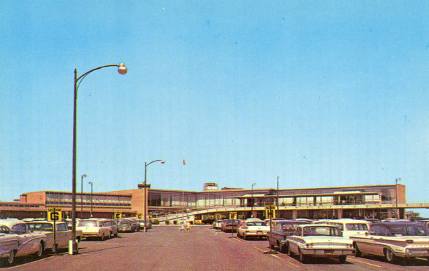 The terminal that greeted travelers until 2008 took shape in 1956 although it's hard to recognize without the distinctive spiral parking garages (courtesy eBay)
