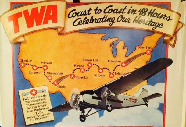 "This ad shows the cross-country ""air service"" that began stopping in Indianapolis in 1929 (Courtesy eBay)"