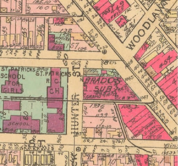 This 1941 Sanborn map shows the alley that was built over to connect the Schreiber Block with the Granada Theater (Courtesy IUPUI)