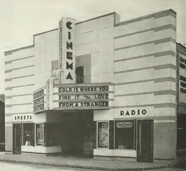The 200 Block of East 16th Street featured the Cinema Art Theater in 1959 (Courtesy Cinema Treasures)
