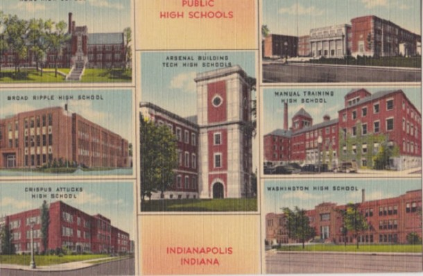 All six Indianapolis public high schools in the 1940's. Notice that Manual is still further north on Madison in what would become Harry Wood High School (Courtesy eBay)