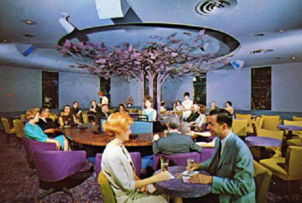 Is that Mr. Rogers enjoying an evening out? Although this looks like a unique place to grab a cocktail, the Manger chain use this photo to promote its lounges in all 11 of their hotel properties (Courtesy eBay)