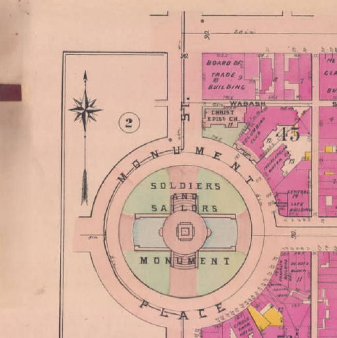 This 1908 Baist map shows the location of the Ye Ark Saloon. It would have been immediately east of the Boar of Trade Building. It would be gone shortly after for construction of the Hume-Mansur Building (Courtesy IUPUI)