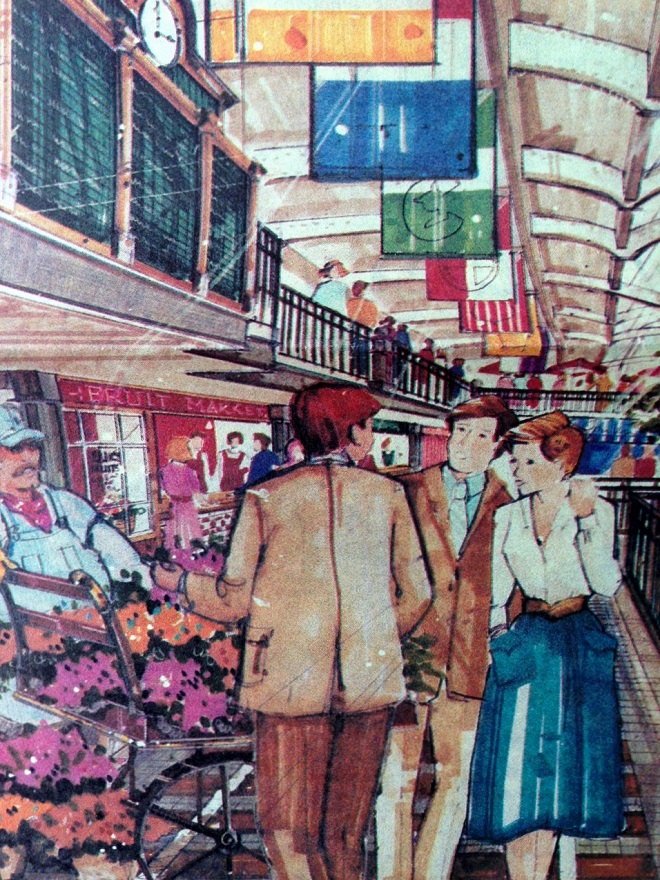 An artist's sketch of the proposed marketplace accurately depicts the changes that took place to the train shed right down to the 1980's fashions (Courtesy Indiana State Library)