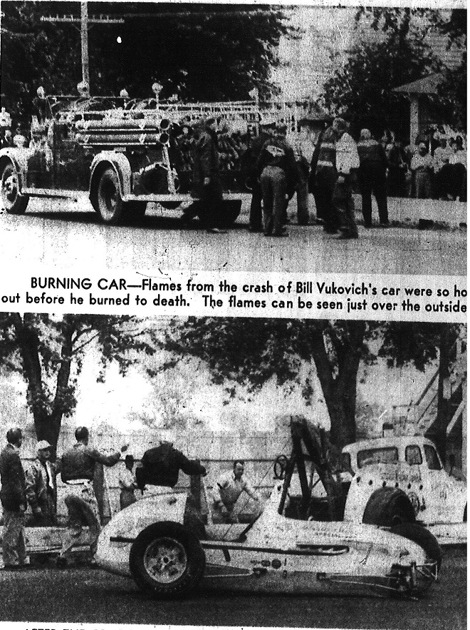 The aftermath of the fatal crash that took the life of Bill Vukovich in during the 1955 500 (Courtesy Indiana State Library)