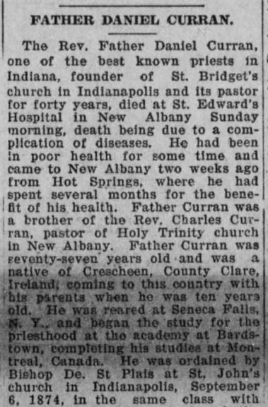 Daniel Curran Obit - Kentucky Irish American, December 21, 1918