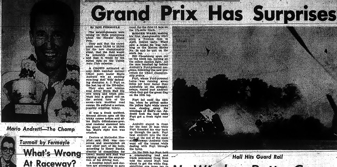 One had to flip deep in to the July 26th edition of the Indianapolis Times to find out who won the Hoosier Grand Prix. The small picture of Andretti dwarfs the bigger headline about a crash involving California racer Norm Hall (Courtesy Indiana State Museum)