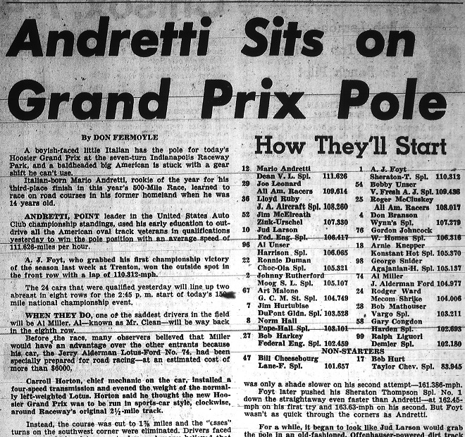 This shows the results of the twenty four qualifiers for the 1965 Hoosier Grand Prix (Courtesy Indiana State Library)