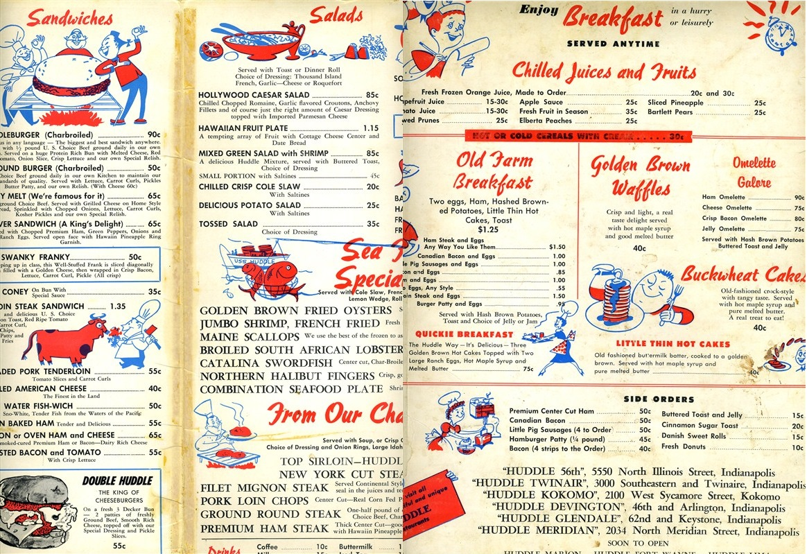 "A sample of a Huddle Menu. The specialty seems to be the ""Old Farm Breakfast. "" The perfect amount of protein for a day on the farm or a day recovering on the couch (Courtesy eBay)"