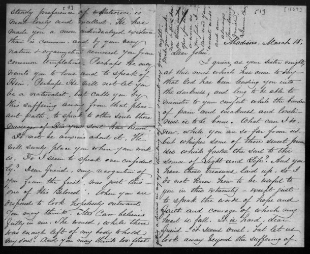 Jeanne Carr to John Muir, March 15, 1867 (2)