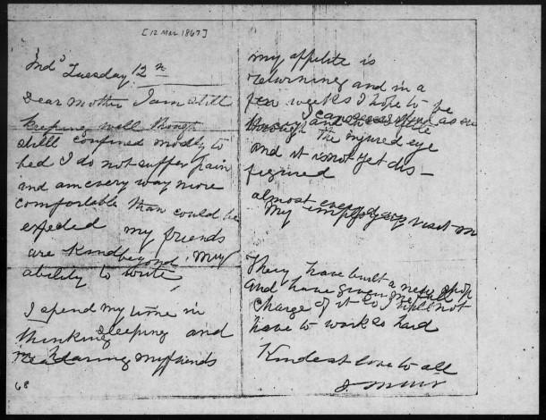 John Muir Letter March 12, 1867