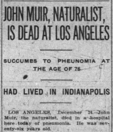 John Muir Obit -- Indianapolis News, December 24, 1914