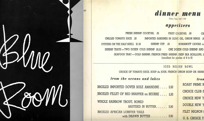 This shows the branding and some menu items from The Blue Room. These would have been fairly steep prices for the late 1950's (Courtesy Indiana State Library and eBay)