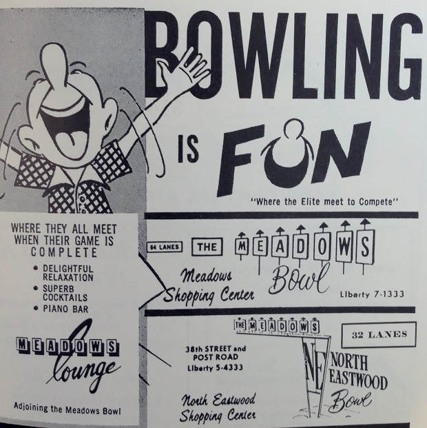 Yes bowling is fun but not at either of these locations today. After twenty years of decline the shopping center was demolished in 1992 after sitting vacant for several years. The North Eastwood Shopping Center still stands but is largely vacant. The last listening of the bowing alley was in 1994 (Courtesy Indiana State Library)