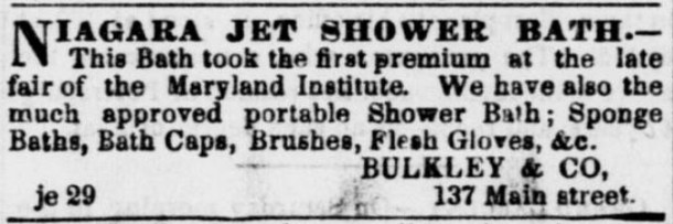 Niagara Jet Shower Bath, The Daily Dispatch, Richmond, Va., July 4, 1853