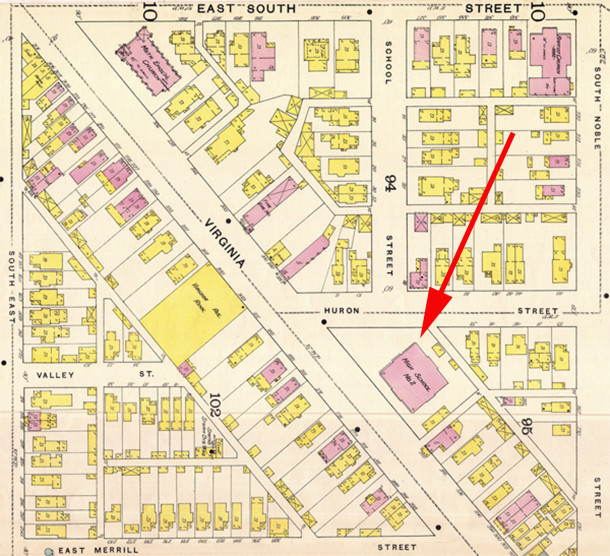 The 1887 Sanborn map identifies the building on Virginia Avenue as Indianapolis High School #2 (map courtesy of IUPUI Digital Archives)