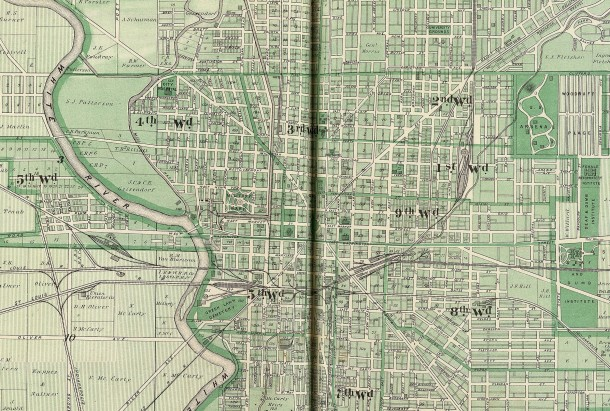 1876 map shows the locations of Indianapolis' wards, each of which had its own school (map courtesy of David Rumsey Co.) CLICK TO ENLARGE
