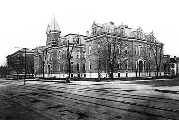 The original Indianapolis High School was renamed Shortridge during its years at E. Michigan and N. Pennsylvania Street (W. H. Bass Co. Collection, courtesy of the Indiana Historical Society)