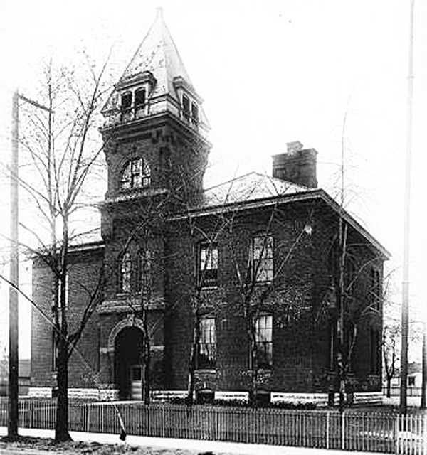 IPS School 2 was on the corner of (Wm H Bass Co. Collection courtesy of the Indiana Historical Society)