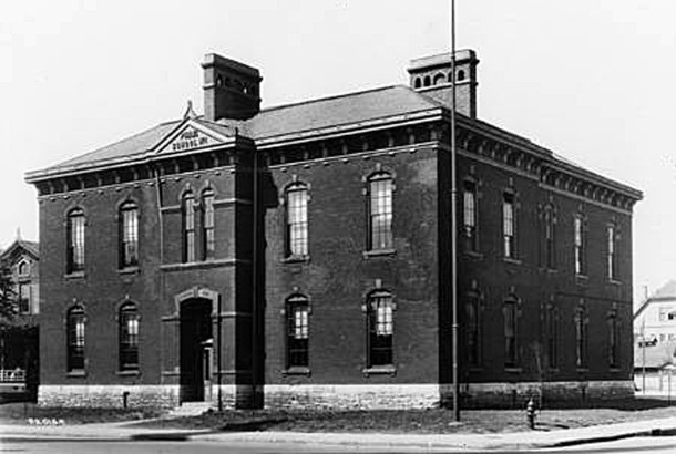 IPS School Number 1 was located on the corner of New Jersey and Vermont Streets (Wm H Bass Photo Co. Collection, courtesy of the Indiana Historical Society)