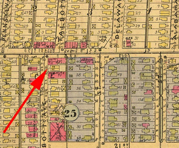 The lot at 2147-2149 N. Talbott Avenue had a 2-family frame residence on it before the present structure was built in 1928-29 (1927 Baist map courtesy of IUPUI Digital Archives) CLICK TO ENLARGE