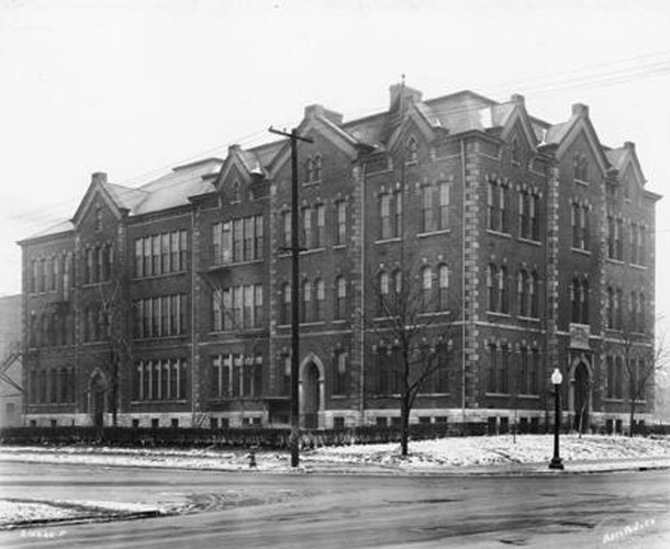 IPS School 2 was located on the northwest corner of Walnut and Delaware Streets. Today it is the site of Indianapolis Public School headquarters (Wm H. Bass Photo Co. Collection courtesy of the Indiana Historical Society)