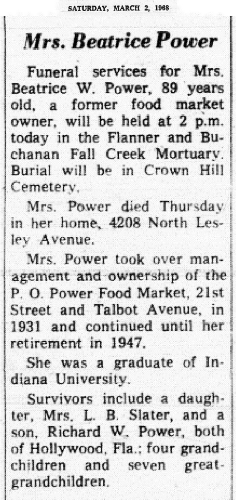 Percival O. Power's wife, Beatrice, ran the grocery store for many years after he died (obituary courtesy of Indianapolis Public Library)