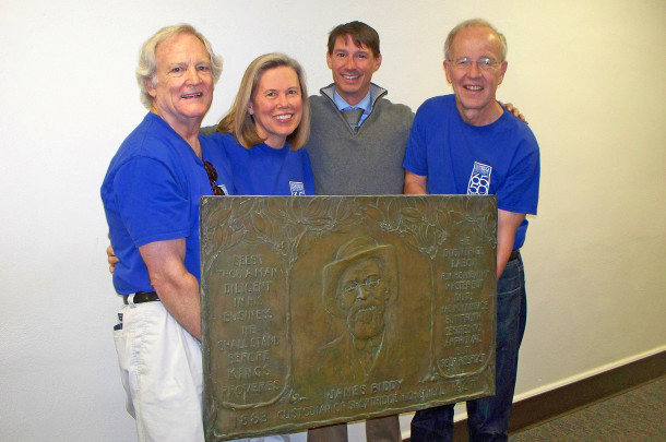 Michael Freeland, Sharon Butsch Freeland, and Tom Greist delivered the marker to Shortridge Principal Shane O'Day