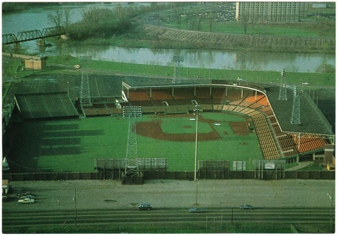 The 12,000 seat Bush Stadium would fill about half of its seats for Caps home games. The field would have been wedged in facing north to south (Courtesy eBay)