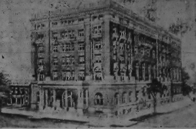 This rendering from 1907 shows what a proposed new YMCA headquarters in downtown Indianapolis might look like (Courtesy Indiana State Library)