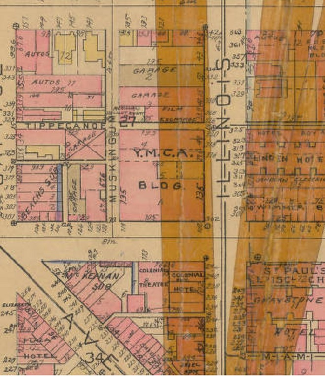 This 1927 Baist map shows the location of the downtown YMCA. Notice Indiana Avenue creeping to the southeast (Courtesy IUPUI)