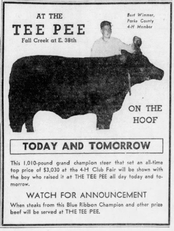 In a publicity stunt, the Tee Pee purchased the prize-winning steer at the 1945 Indiana State Fair (Indianapolis News clipping courtesy of newspapers.com)