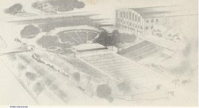 This rendering shows how the proposed amphitheater would be placed in the Butler Bowl (Courtesy Butler University)