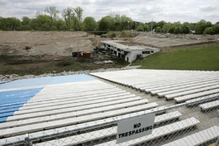 The Hilton U. Brown Theater is largely demolished in this 2005 picture but you can still make out the fan-shaped seating area. The stage would have sat atop the building in the end-zone (courtesy Butler University)