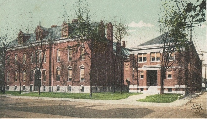 How Shortridge High School would appear in 1898 when it stood at Pennsylvania and Michigan Streets. Today it is the site of the Federal Office Building (Courtesy Amazon)
