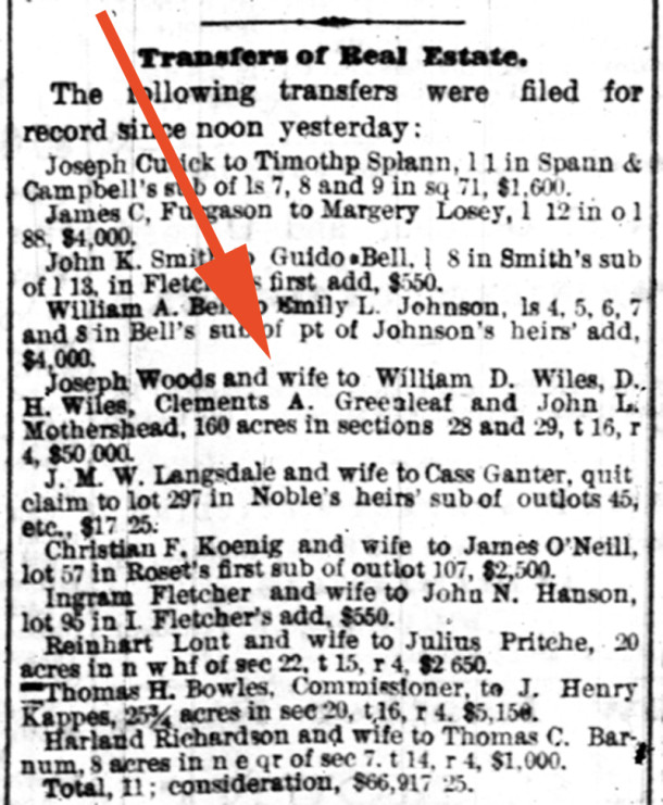 1872 Real Estate Transactions in the Indianapolis News (courtesy of newspapers.ocom)