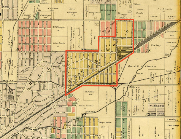 1889 Griffing, Gordon & Co. Atlas of Marion County shows the location of the Town of Brightwood before annexation (courtesy of Indiana State Library Maps Collection)