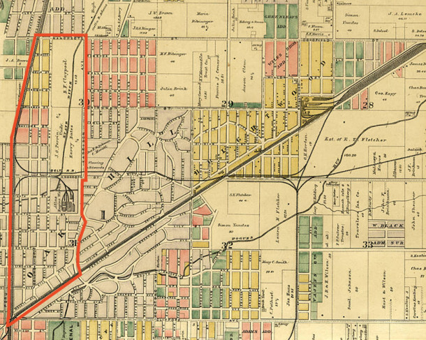 1889 Griffing, Gordon & Co. Atlas of Indianapolis Marion County shows the location of the early area that later became Martindale (courtesy of the Indiana State Library)