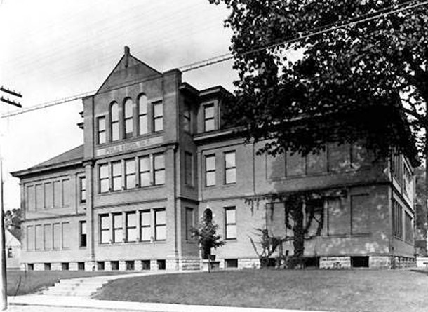The original School 51 faced Gale Street (W. H. Bass Company Collection, courtesy of the Indiana Historical Society)