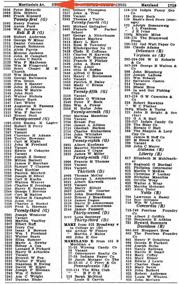 1915 Indianapolis City Directory of the residents and businesses on Martindale Drive (scan courtesy of Ancestry.com)