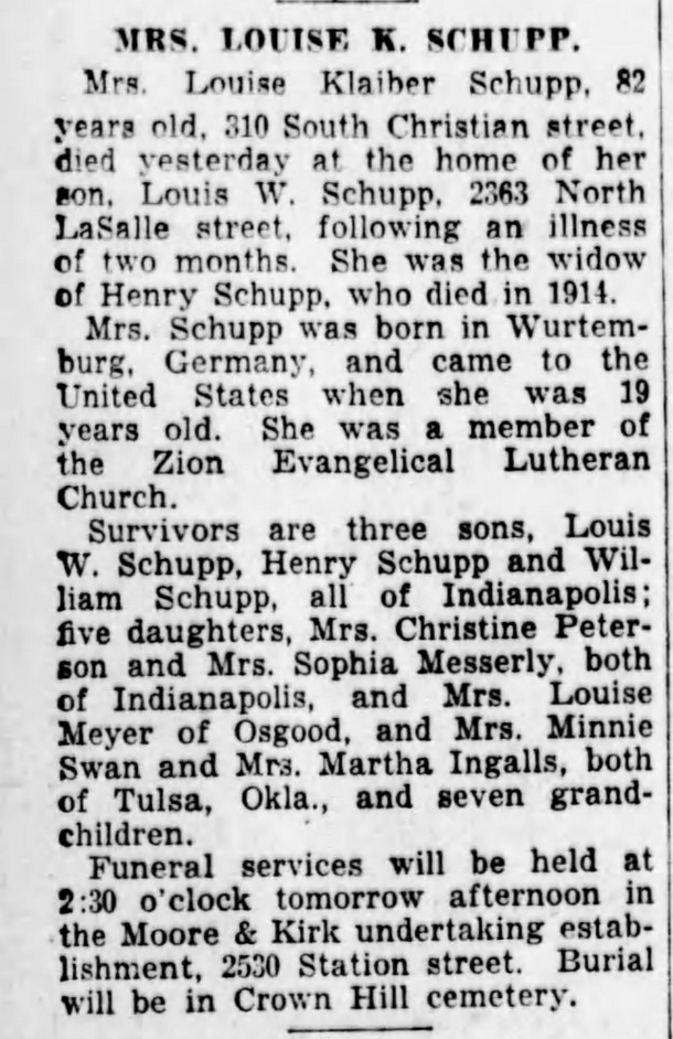 (1931 obit in The Indianapolis Star courtesy of newspapers.com)