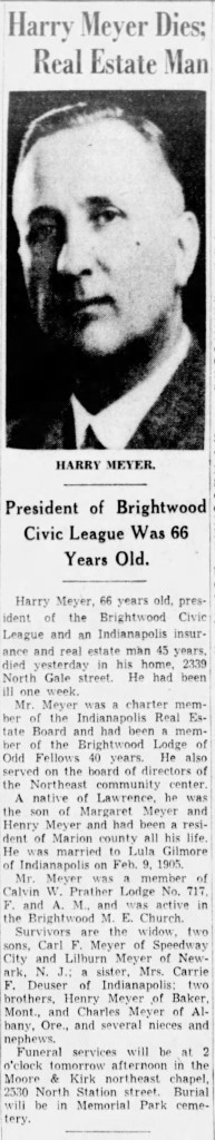 (1939 obituary in The Indianapolis Star courtesy of newspapers.com)