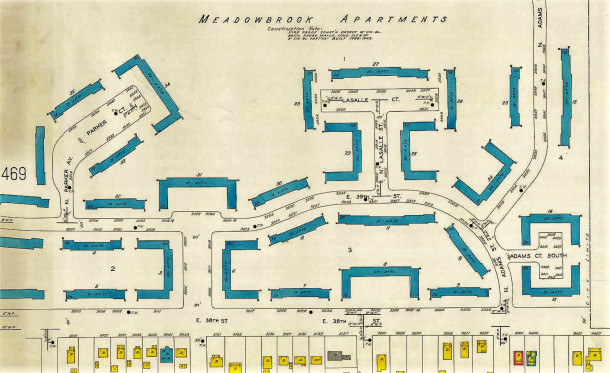 1950 Sanborn map shows the courtyard-like arrangement of the buildings (map courtesy of IUPUI Digital Archives)