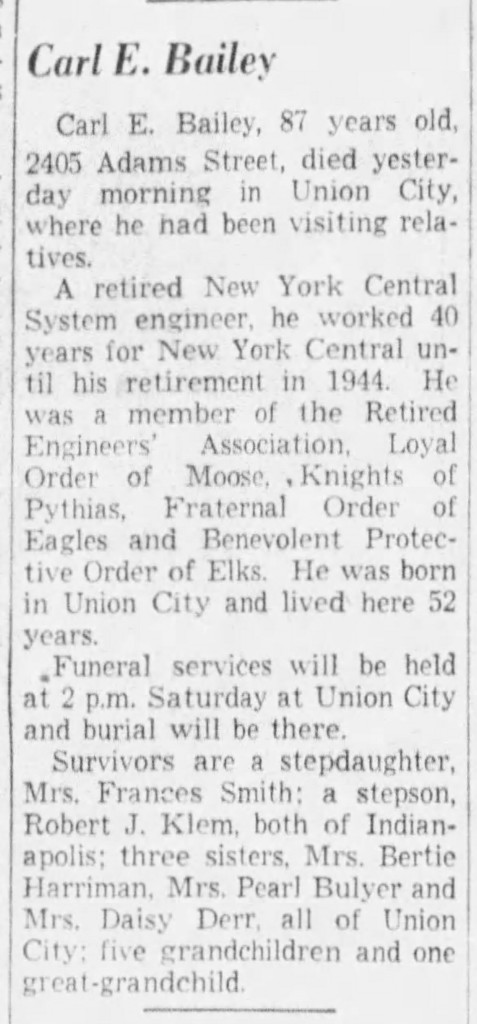 (May 15, 1952 obituary in The Indianapolis Star courtesy of newspapers.com)