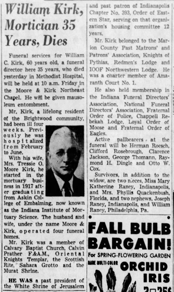 (September 10, 1952 obituary in The Indianapolis Star courtesy of newspapers.com)