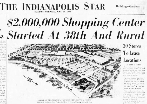1956 Indianapolis Star article announces the Meadows Shopping Center (courtesy of newspapers.com)