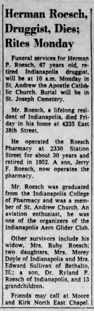 (August 9, 1959 obituary in The Indianapolis Star courtesy of newspapers.com)