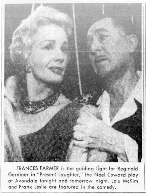 Frances Farmer appeared in several productions at the Avondale Playhouse (clipping courtesy of newspapers.com)