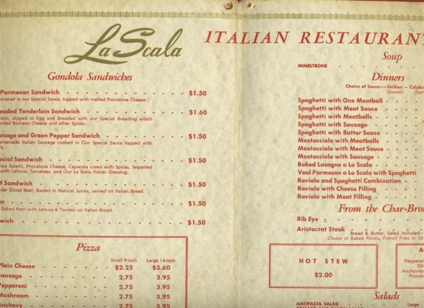 Selections from the La Scala menu. (Courtesy eBay)