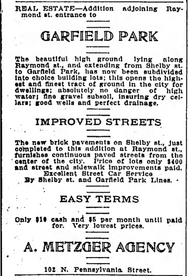 Ad promoting the building lots in Metzger's Garfield Park Addition (coutesy of newspapers.com)